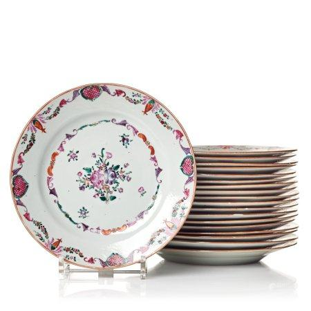 A set of 19 famille rose dishes, Qing dynasty, Qianlong (1736-95).