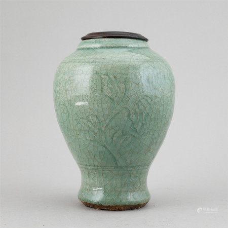 A celadon vase, Ming dynasty (1368-1644).