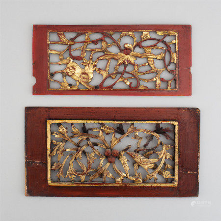 Two red and gilt lacquered wooden panels, early 20th century.