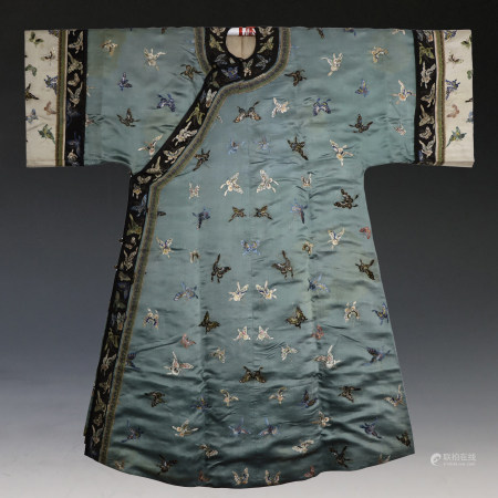 Qing Dyn. Silk Embroidered Butterfly Lady's Robe, Jifu