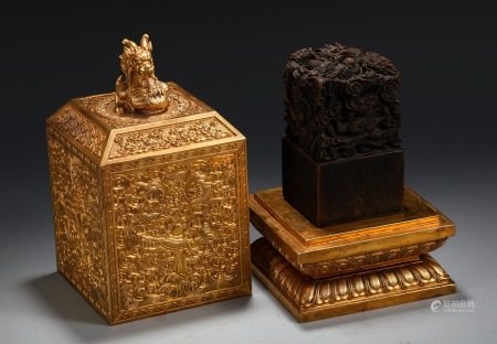 Finely Carved Agarwood Dragon Seal In Gilt Bronze Box
