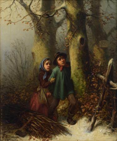Maroehn F., poor children gathering wood in winter, oil