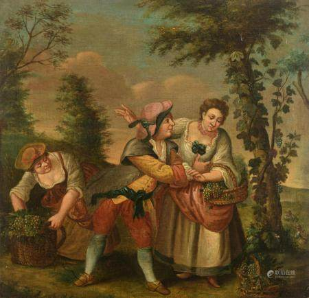 No visible signature, a genre painting depicting the