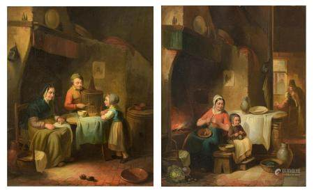 Cantinola, a pair of pendant paintings with genre