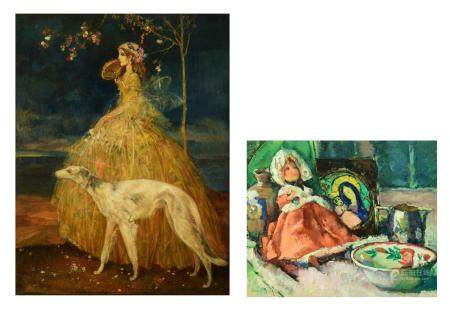 Van Belle K., a well-dressed lady with her dog in the
