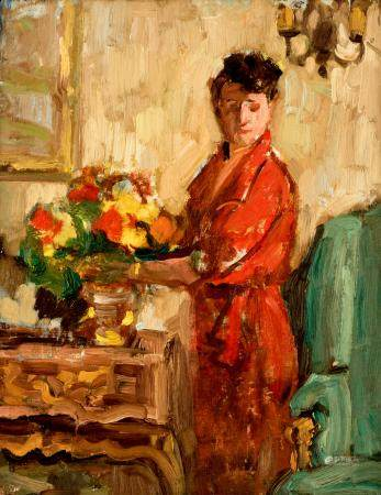 No visible signature, a lady with flowers in an