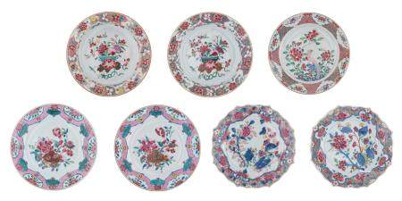 Six Chinese famille rose export porcelain dishes,