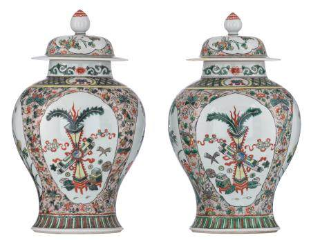 A pair of Chinese famille verte baluster vases and