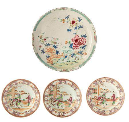 Three Chinese 'Mandarin pattern' export porcelain