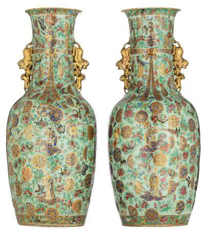 A pair of Chinese Canton famille rose on celadon ground