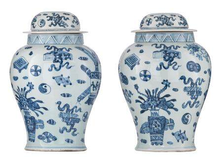 A pair of Chinese blue and white covered vases,