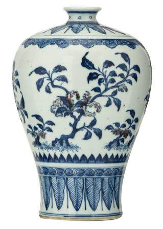 A Chinese copper-red and cobalt blue underglaze Meiping