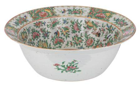 A Chinese Canton famille rose punch bowl, decorated