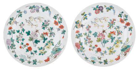 Two Chinese polychrome decorated plates, the centre