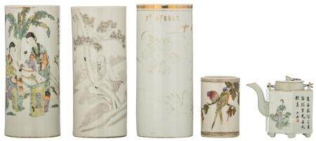 Three Chinese cylindrical vases, polychrome, Indian ink