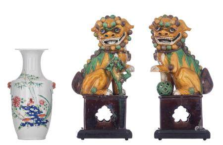 A fine pair of Chinese sancai biscuit figures of