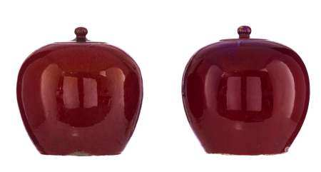 Two Chinese sang-de-boeuf ginger jars, H 21,5 - ø 21