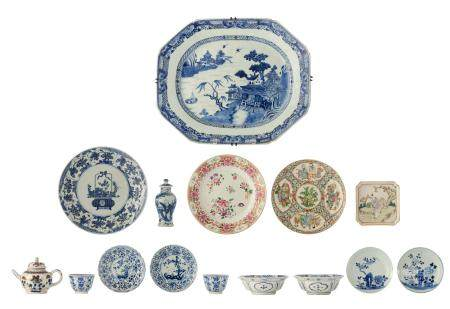 Various Chinese export porcelain items, two blue and
