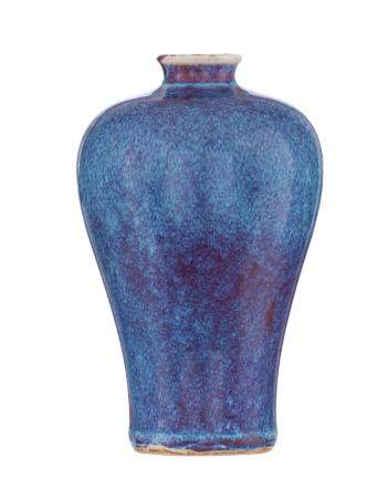 A Chinese flambe-glazed Meiping porcelain vase, H 20,5