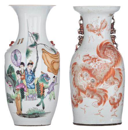 A Chinese Qianjiang cai vase, decorated with a kylin