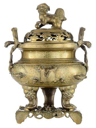 A Chinese bronze censer on matching bronze base,