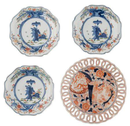 Three Japanese polychrome lobed dishes, decorated with