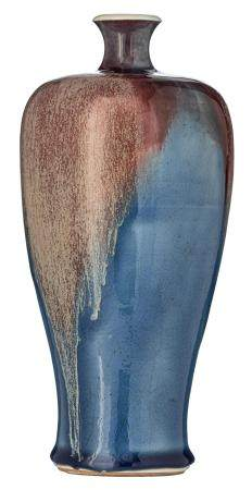 A small blue ground flambe-glazed Meiping vase, H 24