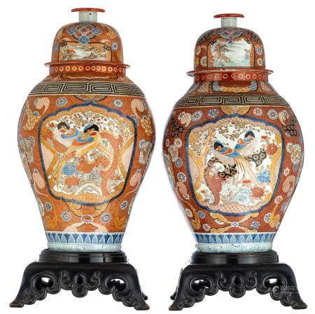 Two Japanese Arita covered vases in Imari pattern, the