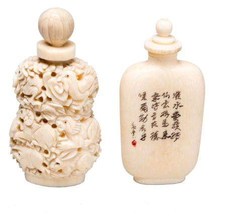 Two chinese ivory snuff bottles. 19th century