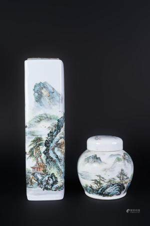 Chinese Art Two porcelain vases painted with landscape China, 20th century