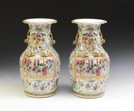Chinese Art A pair of Canton porcelain vases painted with characters within reserves China, 19th century