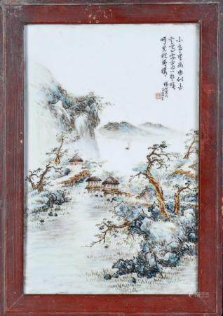 Chinese Art A porcelain plaque painted with landscape and sealed inscription China, 20th century