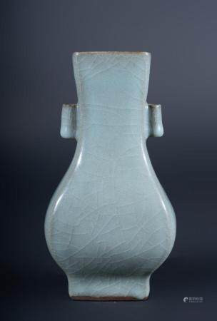 Chinese Art A celadon glazed arrow shaped pottery vase China, Republic, early 20th century