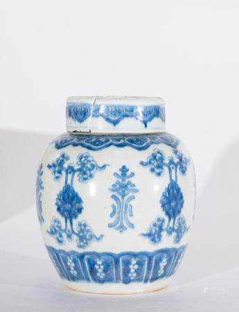 Chinese Art A blue and white porcelain vase painted with floral motifs and bearing a double circle mark at the base China, Qing dynasty, 17th century