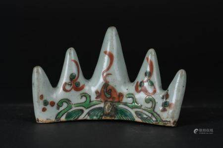 Chinese Art A wucai porcelain brush rest painted with waves China, Ming dynasty