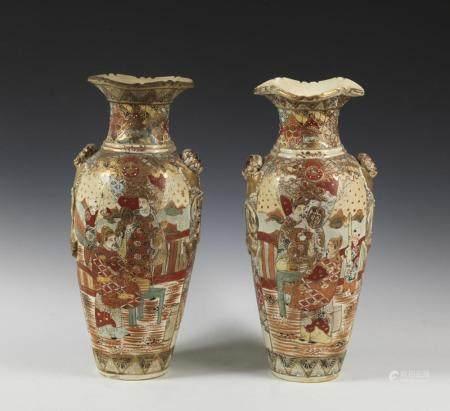 Japanese Art A pair of Satsuma pottery vases Japan, 19th century