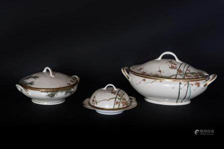 Japanese Art Two white porcelain soup tureens and cover and a warmer Japan, 19th century