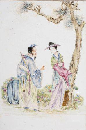 Chinese Art A famille rose enamel porcelain plaque painted with a couple in the garden China, 20th century