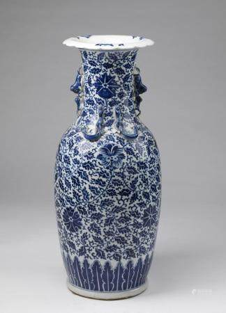 Chinese Art A blue and white porcelain baluster vase painted with floral sprays China, 20th century