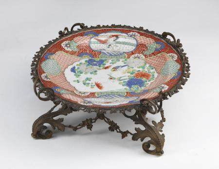 Japanese Art A Kutani porcelain dish with European gilt bronze mount Japan, 19th century