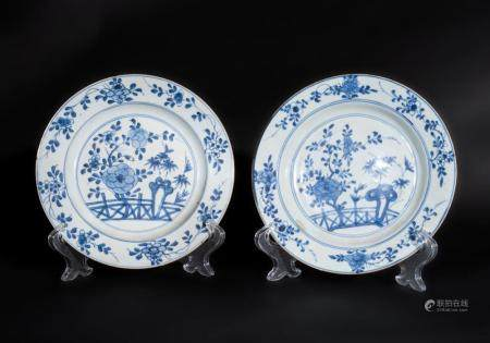 Chinese Art A pair of blue and white porcelain dishes painted with floral motifs China, Kangxi period, 17th-18th century