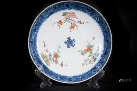 Chinese Art A porcelain dish painted with polychrome flowers China, Ming period or later