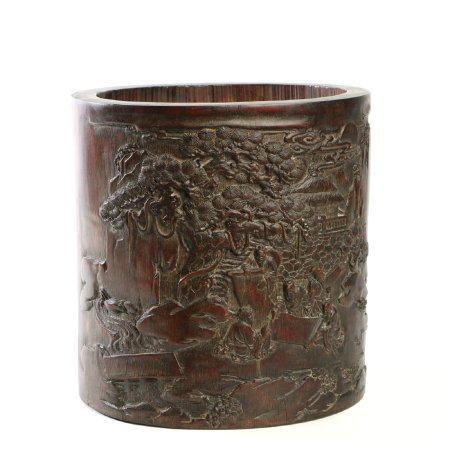 "Chinese Bamboo Carving ""Landscape And Figures"" Brush Pot"