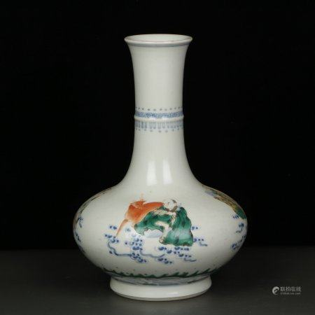 "Chinese Dou Cai ""Luo Han"" Porcelain Bottle"