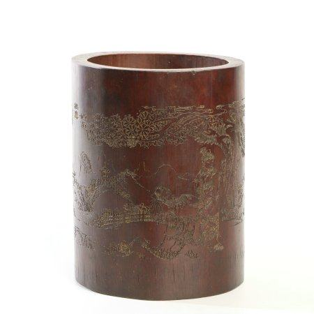 "Chinese Bamboo Carving ""Landscape"" Brush Pot"