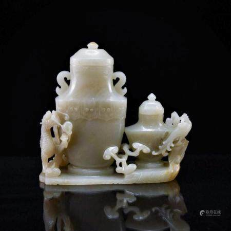 CARVED JADE DRAGON AND PHOENIX COVERED URN