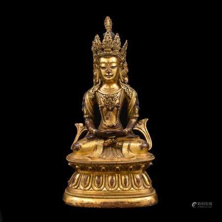 QING GILT BRONZE AMITAYUS BUDDHA