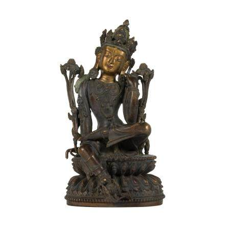MING GILT BRONZE THINKING BUDDHA LOKITHESVARA