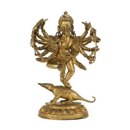 GILT BRONZE DANCING BUDDHA NATYAVIGHNA
