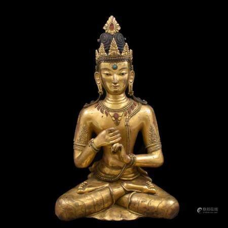 LARGE QING GILT BRONZE & STONES INLAID VAIROCHANA BUDDHA